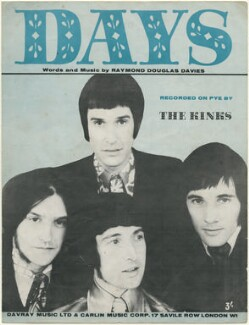 Sheet music cover for 'Days' by The Kinks (Ray Davies; Dave Davies; Pete Quaife; Mick Avory), published by Davray Music Limited, published by  Carlin Music Corporation, after  Unknown photographer - NPG D48454