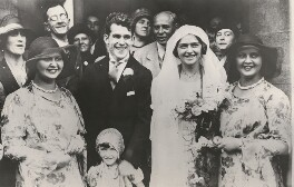Mercedes Gleitze and Patrick Joseph Carey on their wedding day with adult bridesmaids 'Channel Twins' Bernice and Phyllis Zittenfield, by J.G. Whorwell & Son - NPG x198296