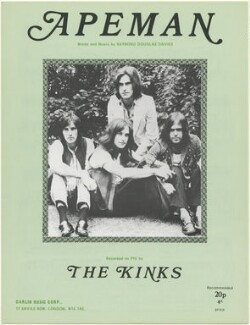 Sheet music cover for 'Apeman' by The Kinks (Pete Quaife; Dave Davies; Ray Davies; Mick Avory), published by Carlin Music Corporation, after  Unknown photographer - NPG D48458