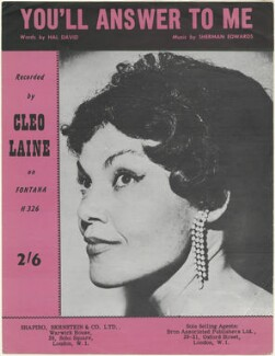 Sheet music cover for 'You'll Answer to Me' by Cleo Laine, published by Shapiro, Bernstein & Co Ltd, after  Unknown photographer - NPG D48463