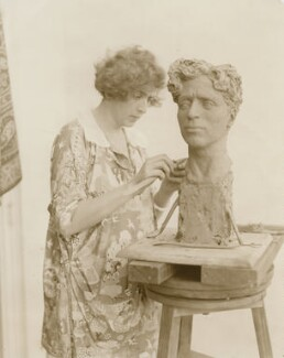 Clare Sheridan creating a bust of Charlie Chaplin, by Unknown photographer - NPG x198322