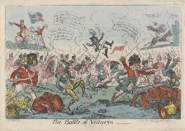 'The Battle of Vittoria [Vitoria]' (Arthur Wellesley, 1st Duke of Wellington; Jean Baptiste Jourdan; Joseph Bonaparte), by George Cruikshank, published by  Thomas Tegg - NPG D48667