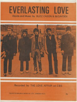 Sheet music cover for 'Everlasting Love' by The Love Affair (Stephen John ('Steve') Ellis; Rex Brayley; Lynton Guest; Maurice Bacon), published by The Peter Maurice Music Co Ltd, after  Unknown photographer - NPG D48473