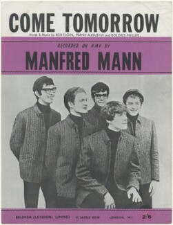 Sheet music cover for 'Come Tomorrow' by Manfred Mann (Tom McGuinness; Mike Vickers; Manfred Mann; Paul Jones; Mike Hugg), published by Belinda (London) Limited, after  Unknown photographer - NPG D48478