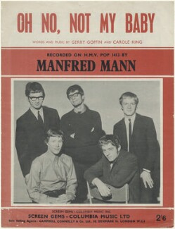Sheet music cover for 'Oh No, Not My Baby' by Manfred Mann (Tom McGuinness; Paul Jones; Manfred Mann; Mike Hugg; Mike Vickers), published by Columbia Music Limited, after  Unknown photographer - NPG D48479