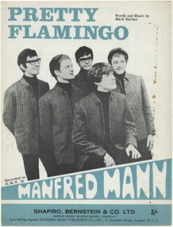 Sheet music cover for 'Pretty Flamingo' by Manfred Mann (Tom McGuinness; Mike Vickers; Manfred Mann; Paul Jones; Mike Hugg), published by Shapiro, Bernstein & Co Ltd, after  Unknown photographer - NPG D48480