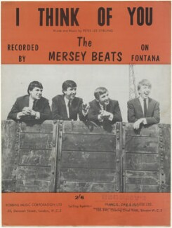 Sheet music cover for 'I Think of You' by The Merseybeats (Aaron Williams; Tony Crane; Billy Kinsley; John Banks), published by Robbins Music Corporation Ltd, after  Unknown photographer - NPG D48484