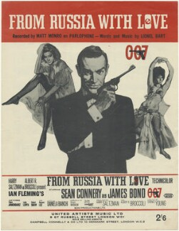 Sheet music cover for 'From Russia With Love' (Daniela Bianchi; Sean Connery; Martine Beswick), published by United Artists Music Ltd, after  Unknown artist - NPG D48487