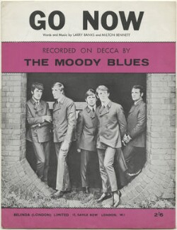 Sheet music cover for 'Go Now' by The Moody Blues (Ray Thomas; Clint Warwick; Graeme Edge; Denny Laine; Mike Pinder), published by Belinda (London) Limited, after  Unknown photographer - NPG D48488