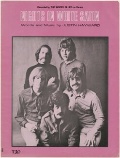 Sheet music cover for 'Nights in White Satin' by The Moody Blues (Denny Laine; Mike Pinder; Ray Thomas; Graeme Edge; Clint Warwick), published by Essex Music Ltd, after  Unknown photographer - NPG D48489