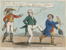 'When Johnny Bull told his Distresses at court' (Arthur Wellesley, 1st Duke of Wellington; Robert Stewart, 2nd Marquess of Londonderry (Lord Castlereagh); John Bull), by Unknown artist - NPG D48668