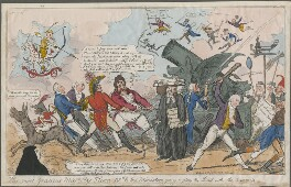 'His Most Gracious Majesty Hum IVth & his Ministers going to play the Devil with the Satirists' (King George III; Robert Stewart, 2nd Marquess of Londonderry (Lord Castlereagh); Robert Banks Jenkinson, 2nd Earl of Liverpool; Arthur Wellesley, 1st Duk...), by Unknown artist, published by  Thomas Dolby - NPG D48670