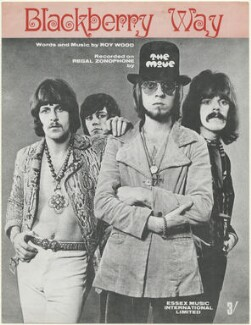 Sheet music cover for 'Blackberry Way' by The Move (Carl Wayne; Bev Bevan; Trevor Burton; Roy Wood), published by Essex Music Ltd, after  Unknown photographer - NPG D48492