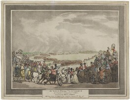 The Light Horse Volunteers of London & Westminster, Commanded by Coll. Herries, Reviewed by His Majesty on Wimbledon Common 5th July, 1798, by Thomas Rowlandson, published by  Henry Charles William Angelo - NPG D48894