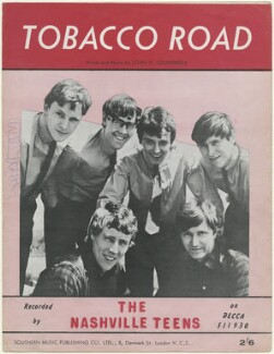 Sheet music cover for 'Tobacco Road' by The Nashville Teens (John Allen; Ray Phillips; John Hawken; Peter Shannon Harris; Barry Jenkins; Arthur Sharp), published by Southern Music Publishing Company, after  Unknown photographer - NPG D48493