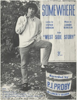 Sheet music cover for 'Somewhere' by P.J. Proby, published by Chappell & Co, published by  G. Schirmer Inc., after  Unknown photographer - NPG D48506