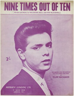 Sheet music cover for 'Nine Times Out of Ten' by Sir Cliff Richard, published by Aberbach (London) Limited, after  Unknown photographer - NPG D48511