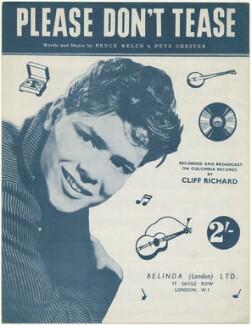 Sheet music cover for 'Please Don't Tease' by Sir Cliff Richard, published by Belinda (London) Limited, after  Derek Allen - NPG D48512