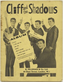 Sheet music cover for 'Cliff and The Shadows' (Hank Marvin; Jet Harris; Brian Bennett; Sir Cliff Richard; Bruce Welch), published by B. Feldman & Co Ltd, after  (Dezider) Dezo Hoffmann, after  Terence ('Jet') Harris - NPG D48514