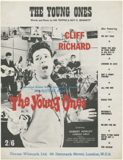 Sheet music cover for 'The Young Ones' (Bruce Welch; Daniel ('Tony') Meehan; Sir Cliff Richard; Terence ('Jet') Harris; Hank Marvin), published by Harms-Witmark Limited, after  Unknown photographer - NPG D48515