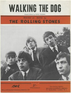 Sheet music cover for 'Walking the Dog' by The Rolling Stones (Keith Richards; Mick Jagger; Brian Jones; Bill Wyman; Charlie Watts), published by Hill and Range Songs (London) Ltd, after  Crispian Woodgate - NPG D48521