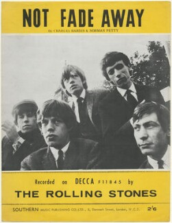 Sheet music cover for 'Not Fade Away' by The Rolling Stones (Keith Richards; Mick Jagger; Brian Jones; Bill Wyman; Charlie Watts), published by Southern Music Publishing Company, after  Crispian Woodgate - NPG D48523
