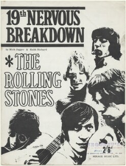 Sheet music cover for '19th Nervous Breakdown' by The Rolling Stones (Keith Richards; Brian Jones; Charlie Watts; Bill Wyman; Mick Jagger), published by Mirage Music Limited, after  Unknown photographer - NPG D48527