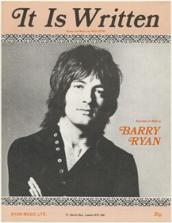 Sheet music cover for 'It Is Written' by Barry Ryan, published by Ryan Music Ltd., after  Unknown photographer - NPG D48534