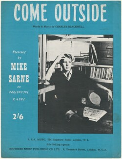 Sheet music cover for 'Come Outside?' by Mike Sarne, published by R.S.A. Music, after  Unknown photographer - NPG D48537