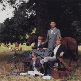 Prince William, Duke of Cambridge; Prince Henry, Duke of Sussex; Prince Charles; Diana, Princess of Wales, by Lord Snowdon - NPG x200858