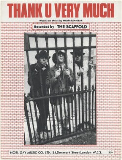 Sheet music cover for 'Thank U Very Much' by The Scaffold (Mike McCartney; John Gorman; Roger McGough), published by Noel Gay Music Ltd., after  Unknown photographer - NPG D48539
