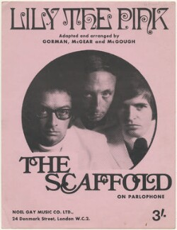 Sheet music cover for 'Lily the Pink' by The Scaffold (Roger McGough; John Gorman; Mike McCartney), published by Noel Gay Music Ltd., after  Unknown photographer - NPG D48540