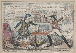 'The Great Unknown and the Great Captain cutting up Napoleon the Great' (Sir Walter Scott, 1st Bt; Arthur Wellesley, 1st Duke of Wellington), by (Isaac) Robert Cruikshank, published by  John Fairburn - NPG D48700