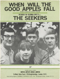 Sheet music cover for 'When Will The Good Apples Fall' by The Seekers (Athol Guy; Judith Durham; Keith Leon Potger; Bruce William Woodley), published by United Artists Music Ltd, after  Unknown photographer - NPG D48547