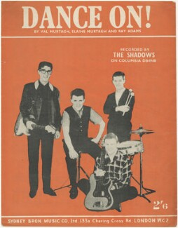 Sheet music cover for 'Dance On!' by The Shadows (Hank Marvin; Jet Harris; Bruce Welch; Tony Meehan), published by Sydney Bron Music Co. Ltd, after  Unknown photographer - NPG D48549