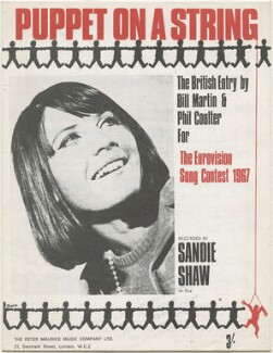 Sheet music cover for 'Puppet On A String' by Sandie Shaw, published by The Peter Maurice Music Co Ltd, after  Harry Goodwin - NPG D48556