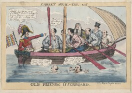 'Cabinet Scull-ers, and Old Friends Overboard' (includes Arthur Wellesley, 1st Earl of Wellington; Henry Goulburn; Sir Robert Peel, 2nd Bt; John Singleton Copley, Baron Lyndhurst; William Huskisson; Edward Law, 1st Baron Ellenborough; John William Wa...), published by Gabriel Shire Tregear - NPG D48707