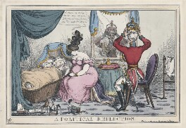 'A Political Reflection' (King George IV; Elizabeth Conyngham (née Denison), Marchioness Conyngham; Arthur Wellesley, 1st Duke of Wellington), by William Heath, published by  Thomas McLean - NPG D48708