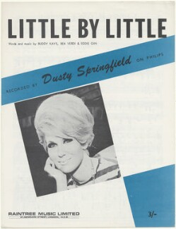 Sheet music cover for 'Little By Little' by Dusty Springfield, published by Raintree Music Ltd., after  Unknown photographer - NPG D48564