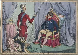 'The Th---e [Throne] in Danger' (Arthur Wellesley, 1st Duke of Wellington; King George IV; Elizabeth Conyngham (née Denison), Marchioness Conyngham), by William Heath, published by  Thomas McLean - NPG D48712