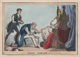 'Doing Homage' (Sir Robert Peel, 2nd Bt; Arthur Wellesley, 1st Duke of Wellington; Pope Leo XII (Annibale Sermattei della Genga)), by William Heath, published by  Thomas McLean - NPG D48728