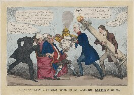'An Attempt to Choke John Bull with Irish-Made Dishes.', by Thomas Howell Jones, published by  Samuel William Fores - NPG D48739