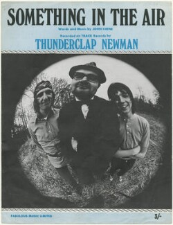 Sheet music cover for 'Something In The Air' by Thunderclap Newman (John ('Speedy') Keene; Andy ('Thunderclap') Newman; James ('Jimmy') McCulloch), published by Fabulous Music Ltd., after  Unknown photographer - NPG D48577