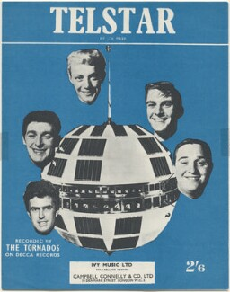 Sheet music cover for 'Telstar' by The Tornados (Roger LaVern; Alan Caddy; Heinz Burt; George Bellamy; Clem Cattini), published by Ivy Music Ltd, after  Unknown photographer - NPG D48578