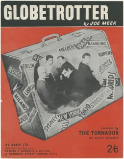 Sheet music cover for 'Globetrotter' by The Tornados (Heinz Burt; Roger LaVern; Alan Caddy; Clem Cattini; George Bellamy), published by Ivy Music Ltd, after  Unknown photographer - NPG D48579
