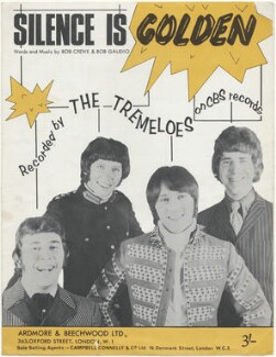 Sheet music cover for 'Silence Is Golden' by The Tremeloes (Dave Munden; Rick Westwood; Len Hawkes; Alan Blakley), published by Ardmore & Beechwood Ltd, after  Unknown photographer - NPG D48580