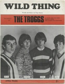 Sheet music cover for 'Wild Thing' by The Troggs (Pete Staples; Ronnie Bond; Chris Britton; Reg Presley), published by April Music Limited, after  Unknown photographer - NPG D48582