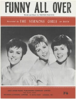 Sheet music cover for 'Funny All Over' by The Vernons Girls (Jean Owen; Frances Lea; Maureen Kennedy), published by Jack Good Music Publishing Co., after  Unknown photographer - NPG D48588