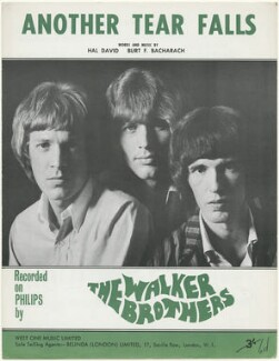 Sheet music cover for 'Another Tear Falls' by The Walker Brothers (Scott Walker; John Walker; Gary Walker), published by West One Music Limited, after  Unknown photographer - NPG D48590