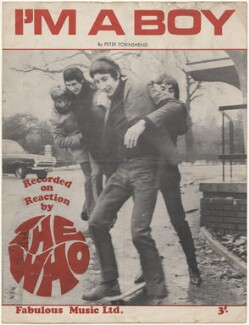 Sheet music cover for 'I'm A Boy' by The Who (Roger Daltrey; Keith Moon; Pete Townshend; John Entwistle), published by Fabulous Music Ltd., after  Unknown photographer - NPG D48595